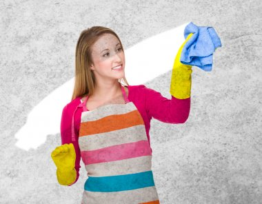 Young housewife cleaning dust