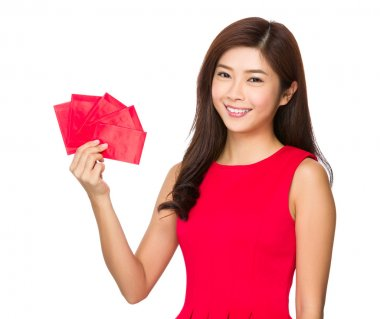 Asian woman in red dress with lucky money stock vector