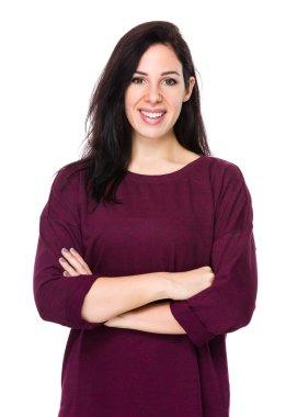 Caucasian middle aged brunette woman
