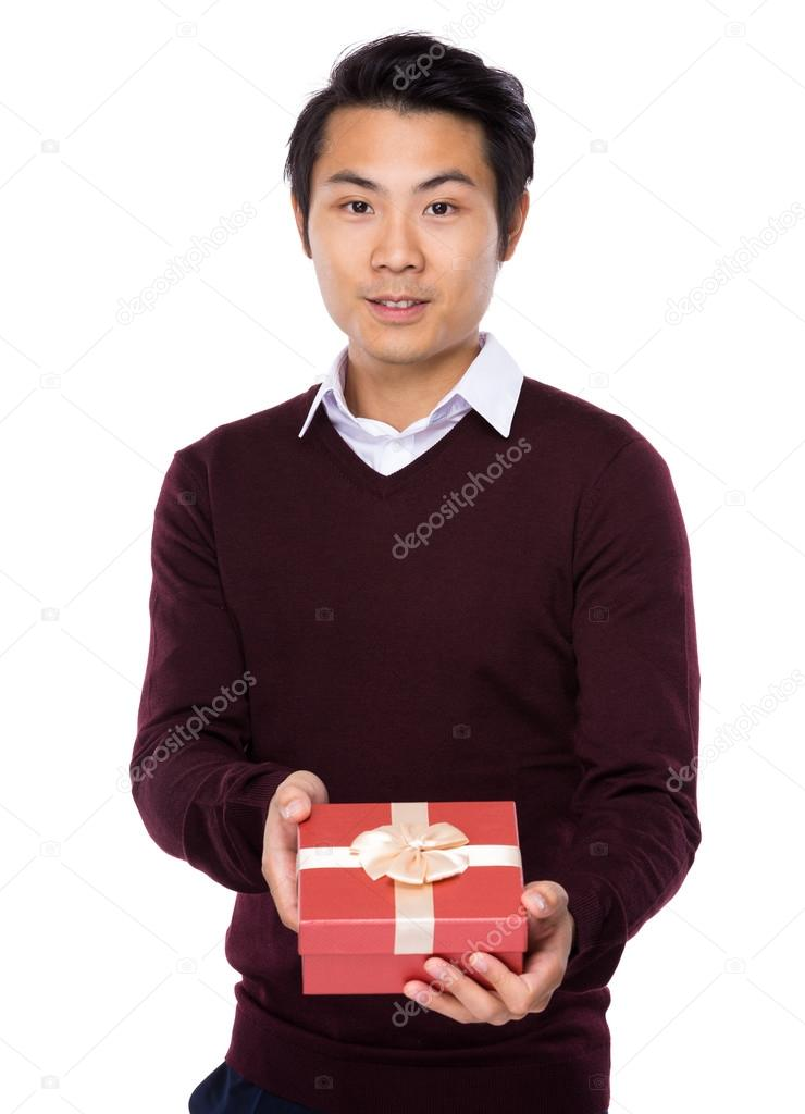 Asian young man in red sweater