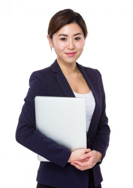 Asian young businesswoman in blue suit