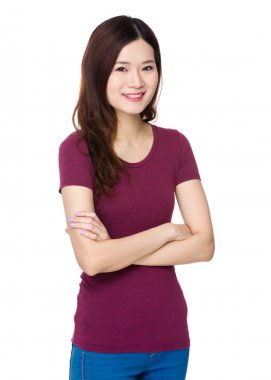 Asian young woman in red t shirt