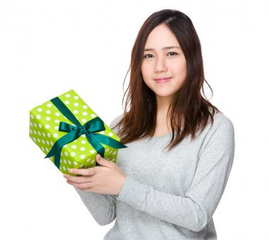 Asian woman with gift box
