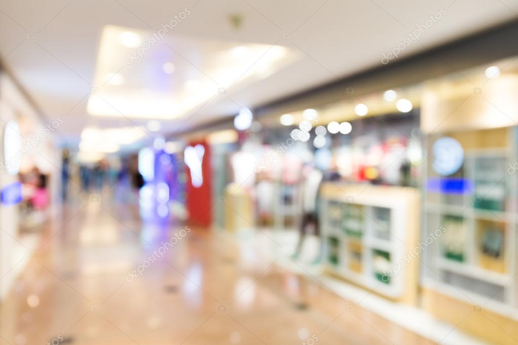 blurred shopping center