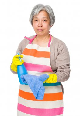 Old asian housewife in apron