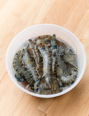 Fresh shrimps in plastic container