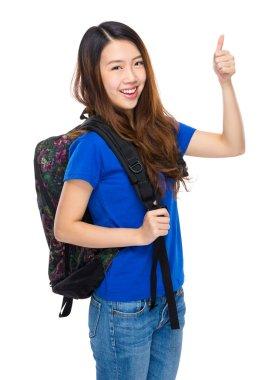 Asian young woman in blue t-shirt