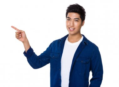 Asian man with finger point up