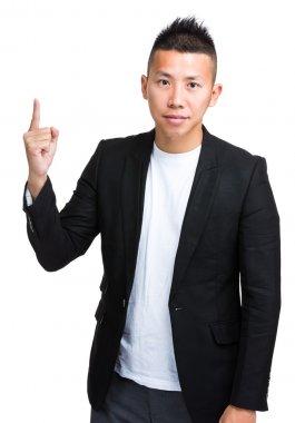 Asian handsome businessman in black jacket