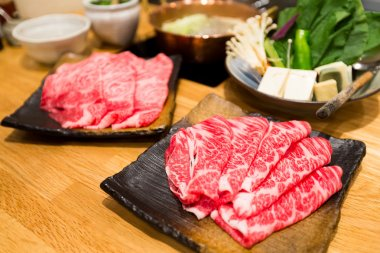 Fresh beef sliced for japanese hot pot