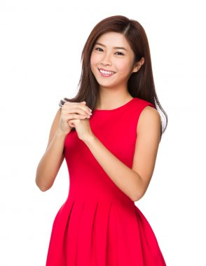 Asian young woman in red dress