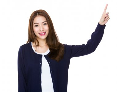 Asian young woman in blue cardigan