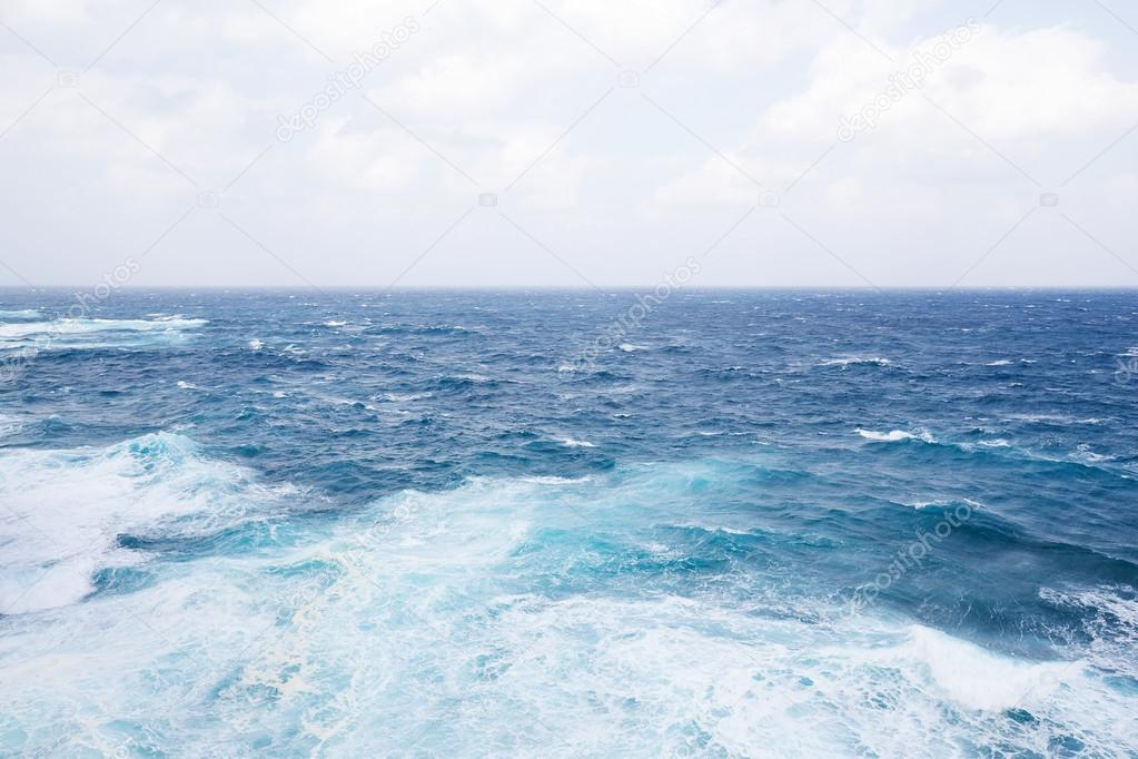 blue sea surface and waves