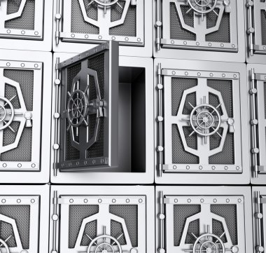 Wall of steel safes