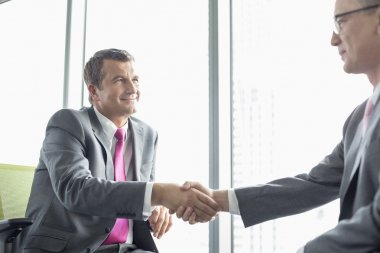 Mature businessmen shaking hands in office stock vector