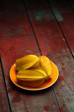 Carambola fruits on plate