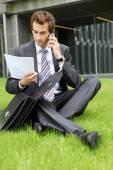 Podnikatel, sedět na trávě