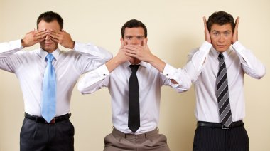 businessman covering eyes, mouth and ears