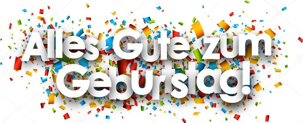 všechno nejlepší k narozeninám německy Všechno nejlepší k narozeninám papíru nápis — Stock Vektor  všechno nejlepší k narozeninám německy