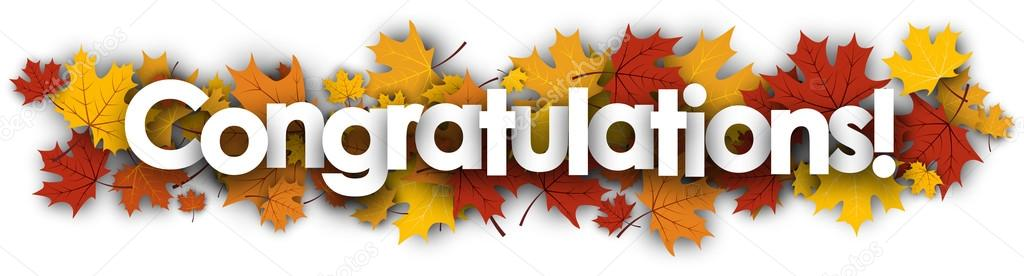 congratulations banner with maple leaves stock vector