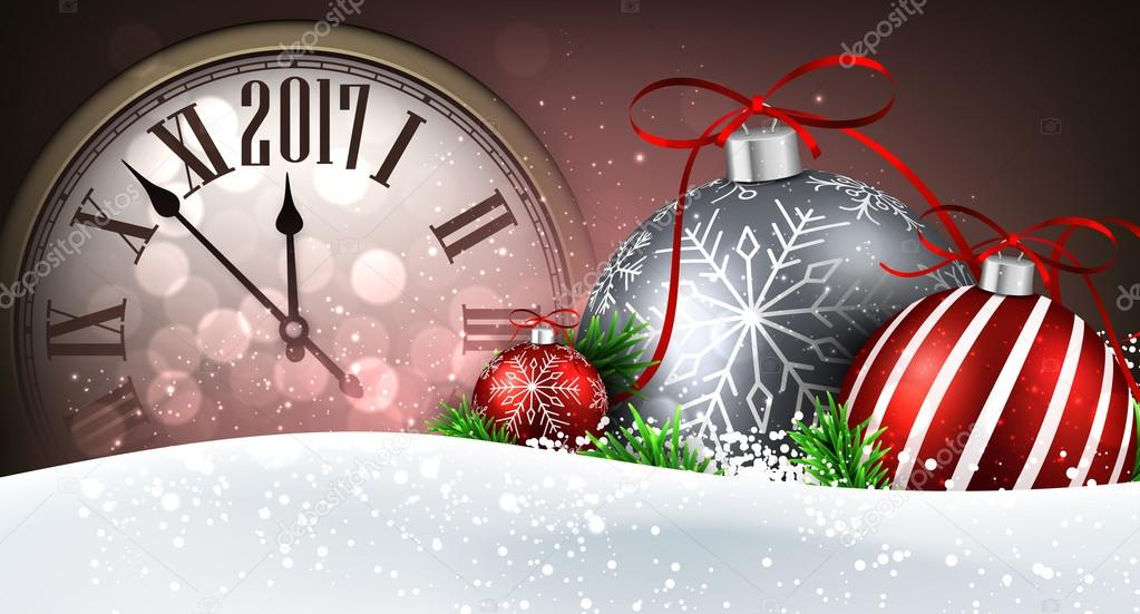 2017 new year banner with clock balls and snow vector illustration vector by maxborovkov