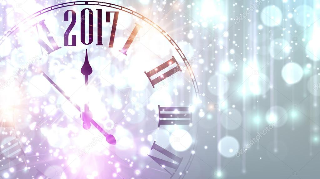 2017 new year banner with clock stock vector
