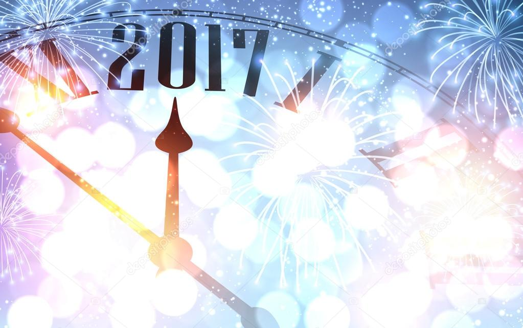 2017 new year background with clock and fireworks vector illustration vector by maxborovkov