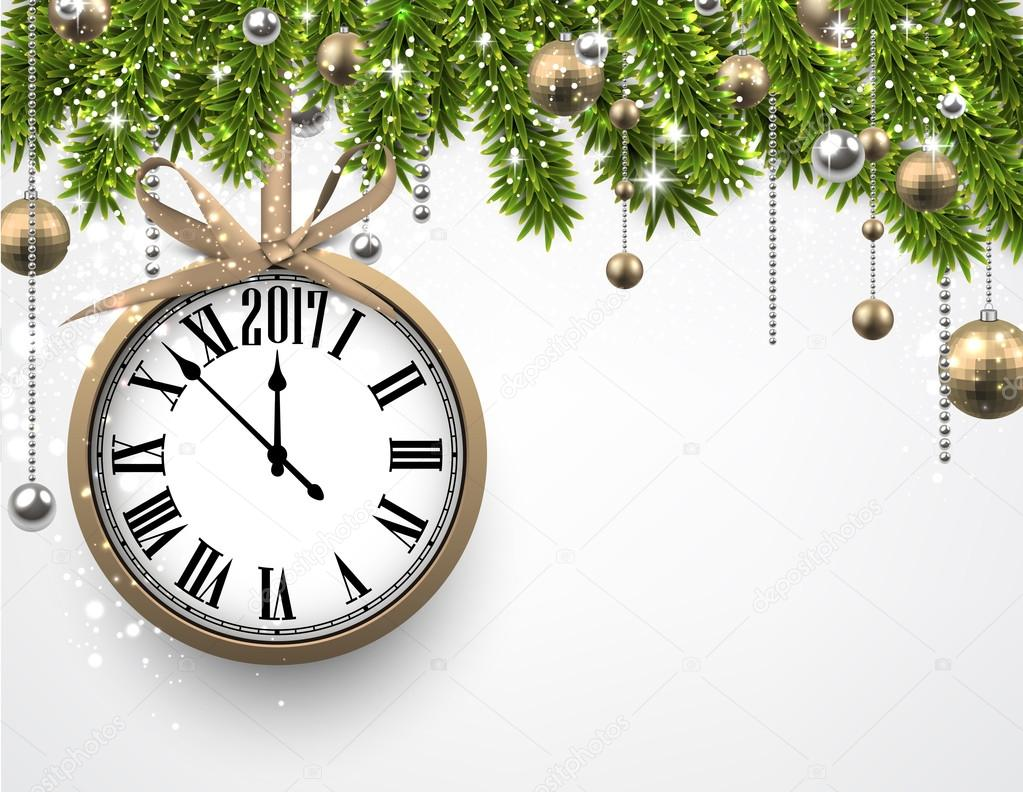 2017 new year background with clock and fir branches vector illustration vector by maxborovkov