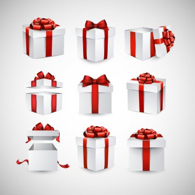 Collection of 3d gift boxes with satin red bows. Realistic vector illustration. clip art vector