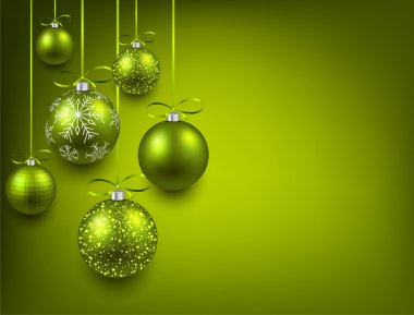 Background with green christmas balls.