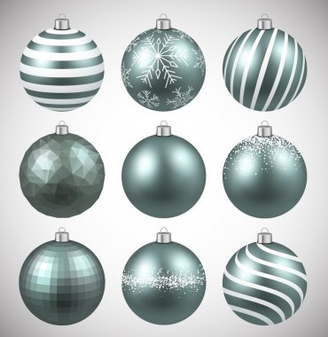 Set of realistic dim christmas balls.