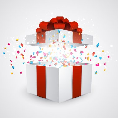 Opened 3d realistic gift box with red bow and confetti. Vector illustration. stock vector