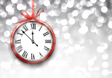 New year clock with defocused background.