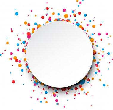 Colorful celebration background. Paper round speech bubble with confetti. Vector Illustration. stock vector