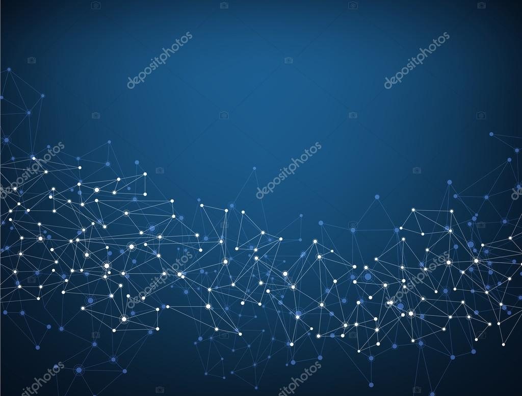 Blue social network background.