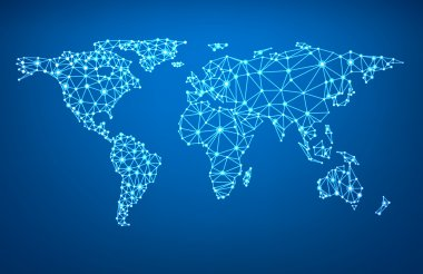 Global network mesh. Social communications background. Earth map. Vector illustration. stock vector