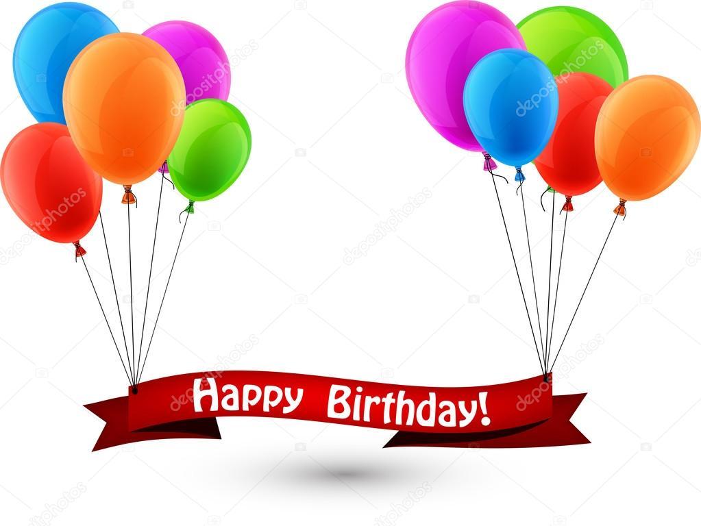 Banner Feliz Aniversario: Happy Birthday Rood Lint Achtergrond Met Ballonnen