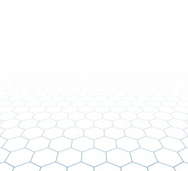 Perspective grid hexagonal surface.