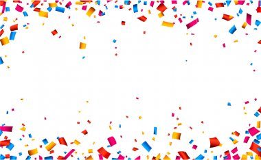 Colorful celebration frame background with confetti. Vector background. stock vector