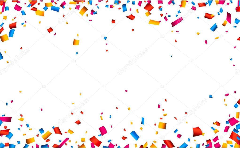Confetti celebration frame background.