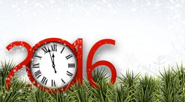 New year 2016 background with clock.