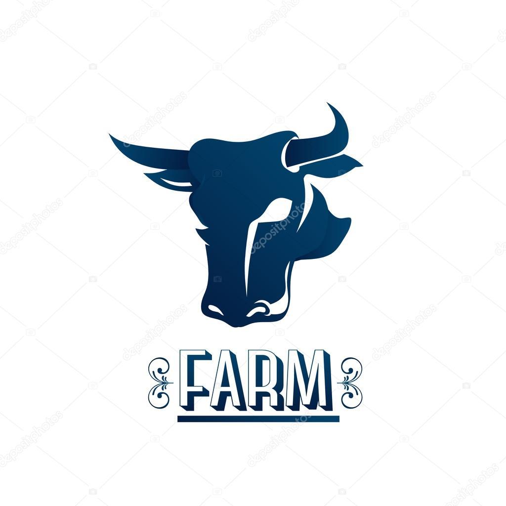 Cow head logo farm. Vector graphic design