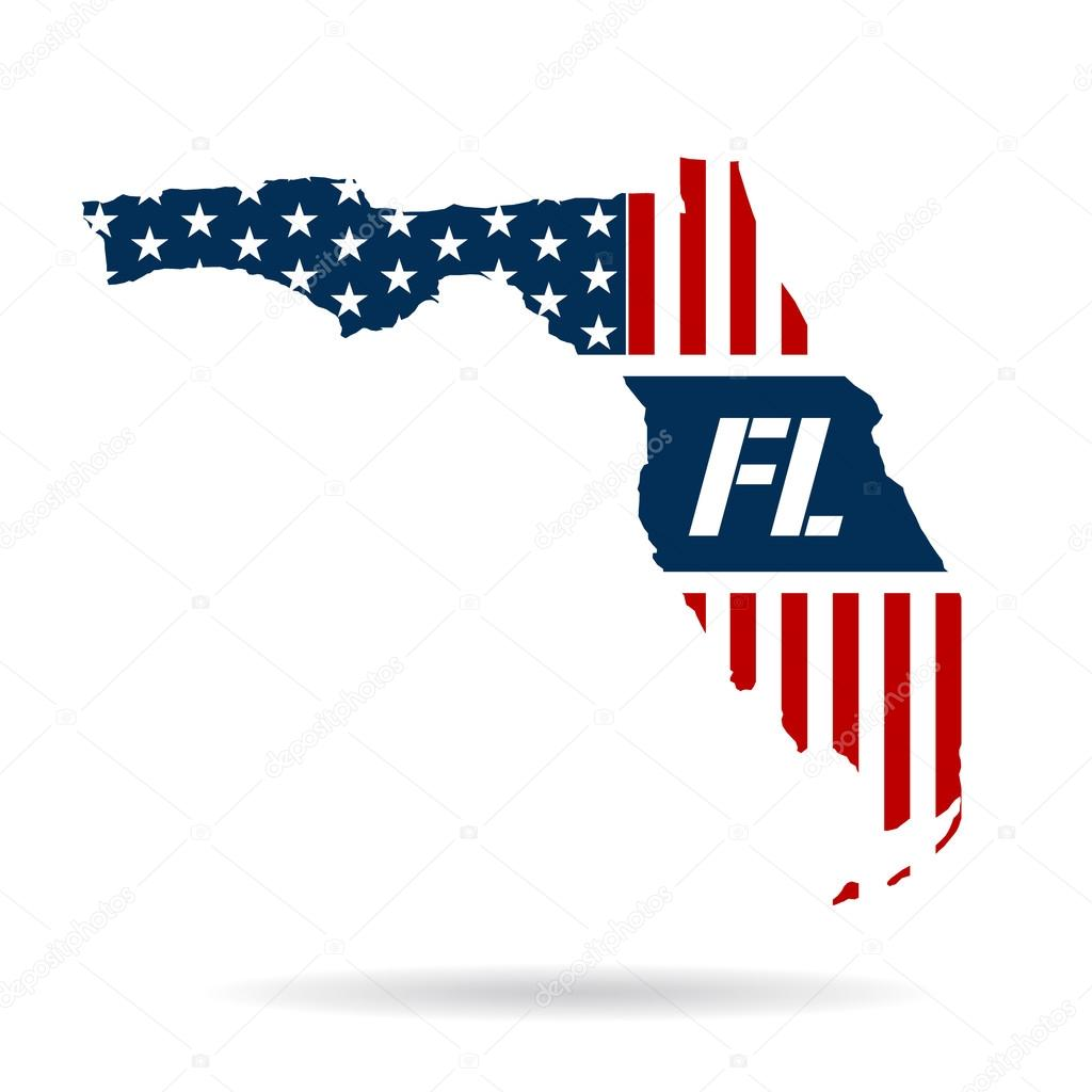 Florida Flag Map with Initials Logo Stock Vector deskcube