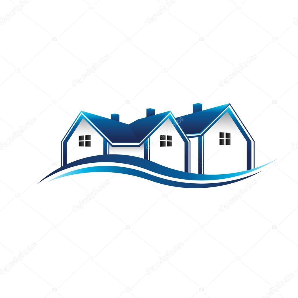 Huizen Makelaar Logo. Vector Grafische Vormgeving