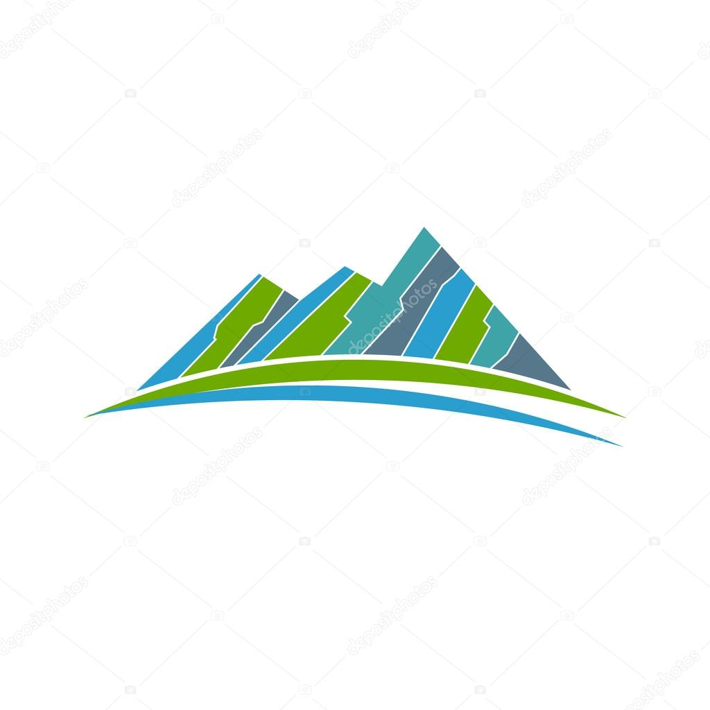 green mountains and road logo vector graphic design stock vector