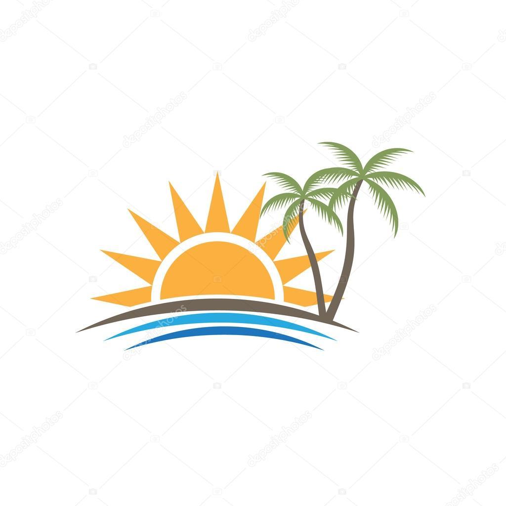 Sunset Tropical Beach Logo. Vector graphic design — Stock ...