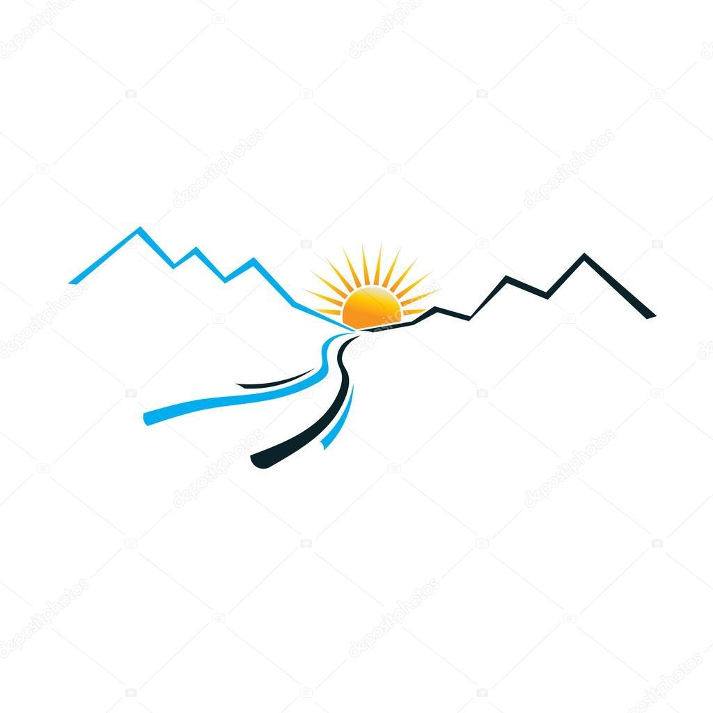 River Mountain and Sun image logo