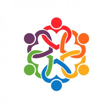 Group of people Interlaced hearts 6. clip art vector