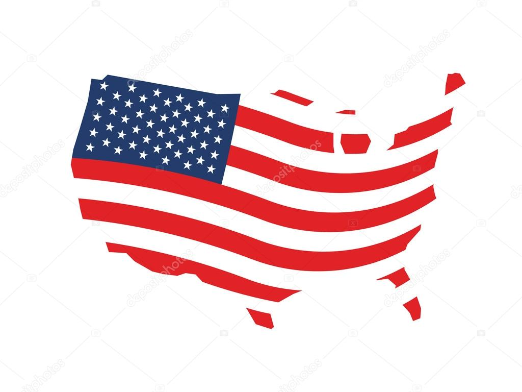USA Wave Stars And Stripes Map Logo Stock Vector Deskcube - Us map logo
