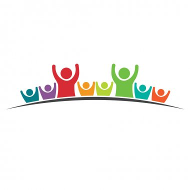 Teamwork Eight Friends image. Logo Concept of Group of People, happy team, victory.Vector icon